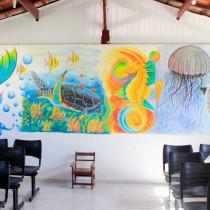 Artistas plásticos do grupo setorial da FundArt fazem intervenção em unidade de reabilitação