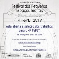 Estão abertas as inscrições para o FePET – Festival dos Pequenos Espaços Teatrais 2019
